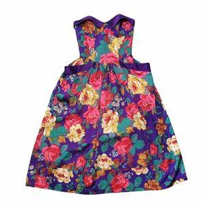 Vintage 80s Le Château strapless floral dress